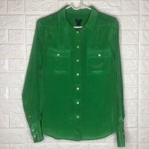 J crew Kelly green Silk button down blouse